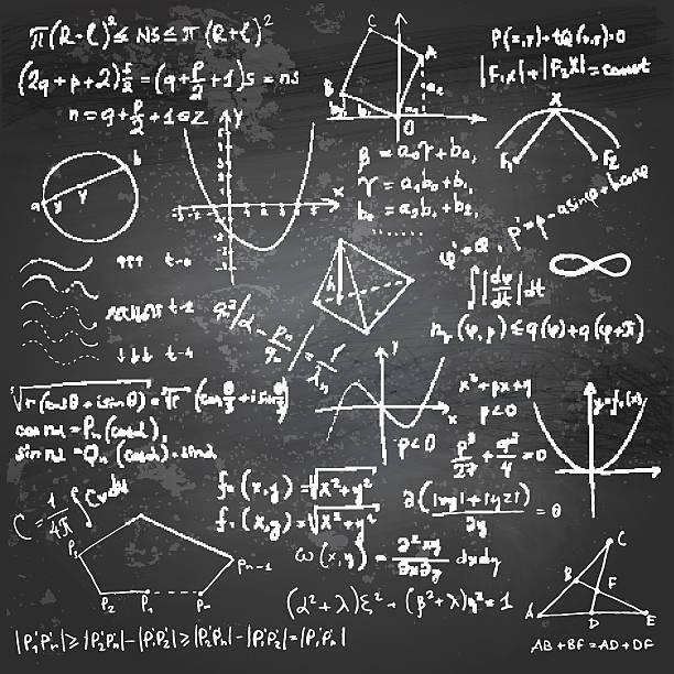 mathematische formeln und zeichnungen auf einer tafel - buchstabenschreibweise stock-grafiken, -clipart, -cartoons und -symbole