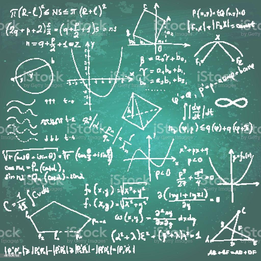 Fórmulas matemáticas y dibujos de chalkboard - ilustración de arte vectorial