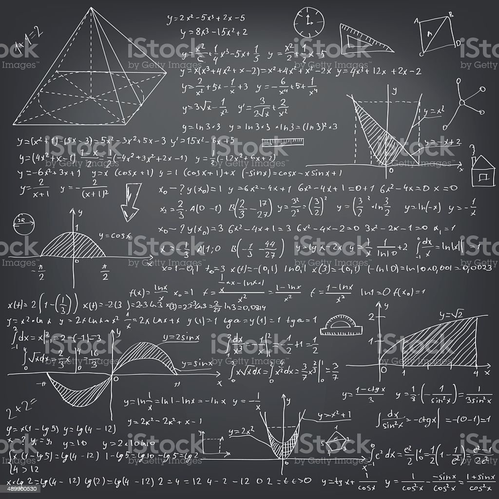 Mathematical formulas vector art illustration