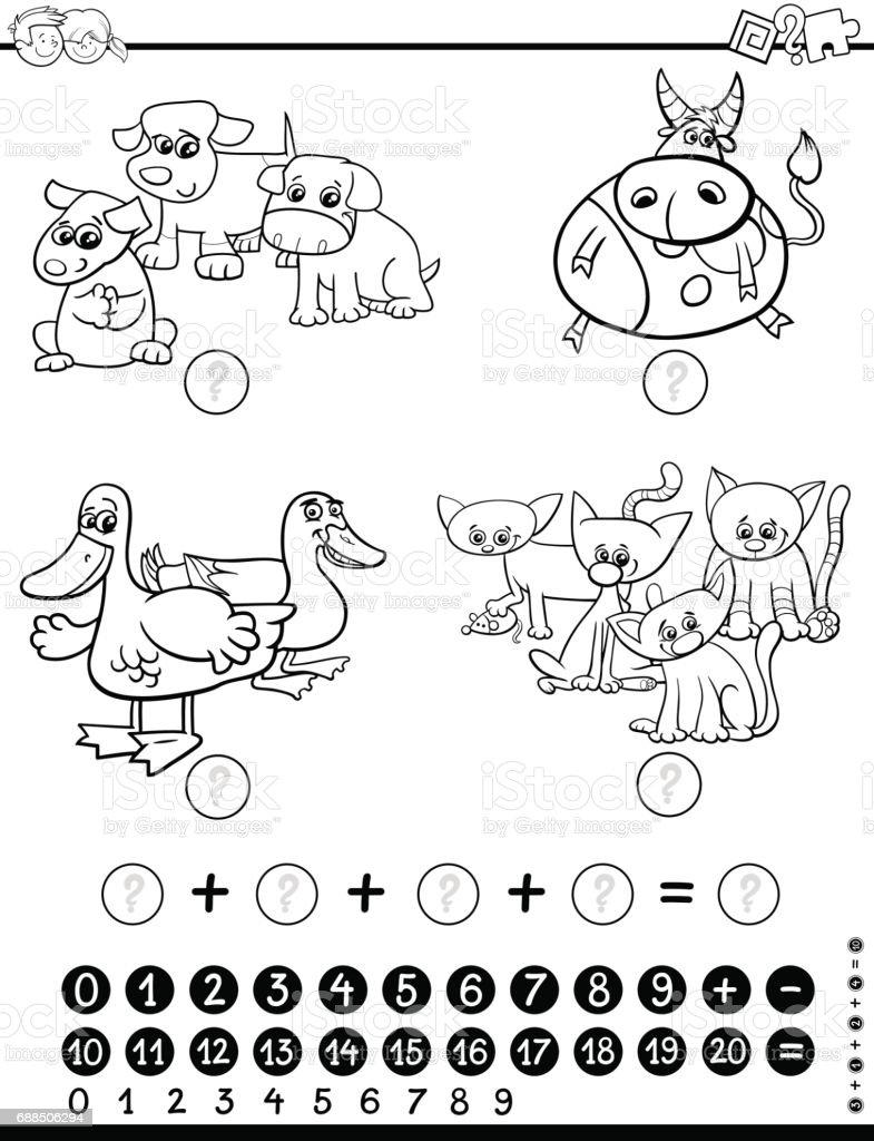 Matematiksel Oyun Boyama Sayfası Stok Vektör Sanatı Anaokulunin