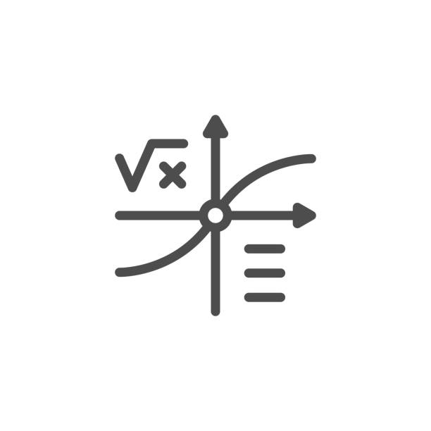 Mathematical graph line icon Mathematical graph line icon isolated on white. Vector illustration mathematical formula stock illustrations