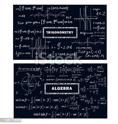 A mathematical pattern with formulas and graphs of trigonometric functions. Set of school backgrounds.