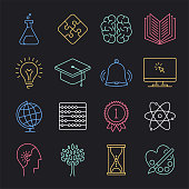 Modern mathematical problem solving neon style concept outline symbols. Line vector icon sets for infographics and web designs.