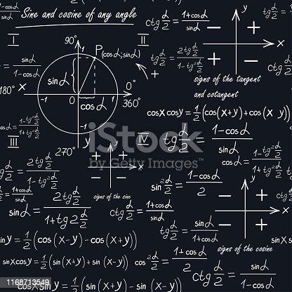 A mathematical seamless pattern with geometric shapes and formulas. School backround. A board with equations