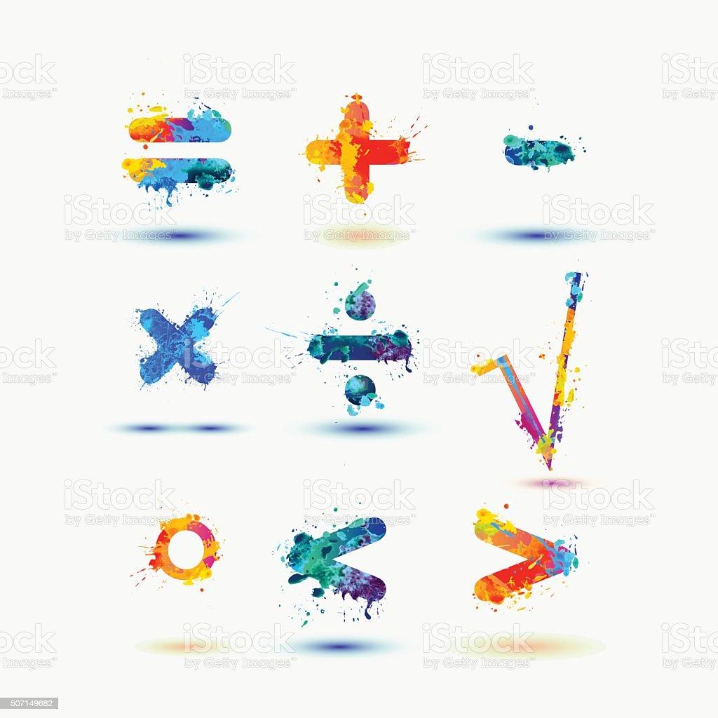 Mathematical signs. Splash paint vector art illustration