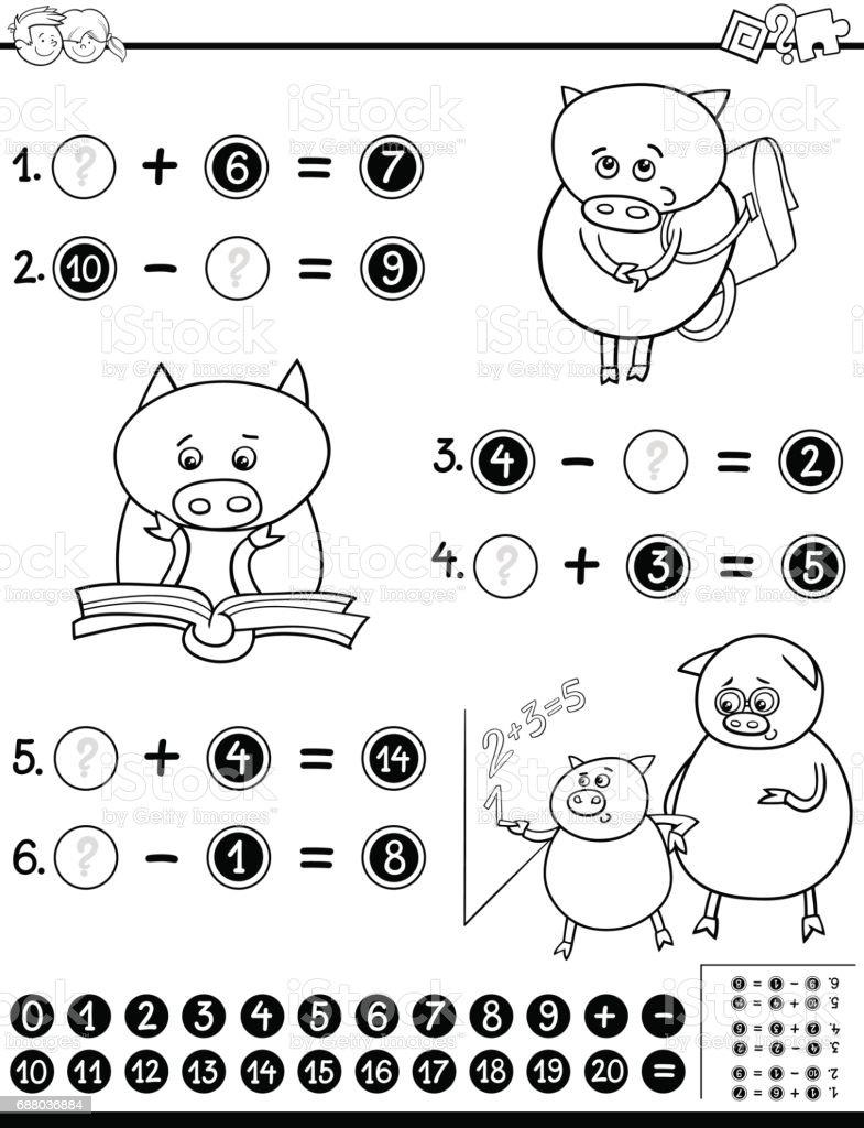 Boyama Için Matematik çalışma Sayfası Stok Vektör Sanatı Anaokulu