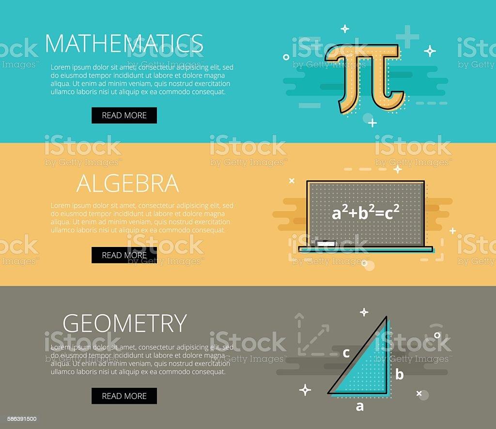 Mathematics. Algebra. Geometry. Vector banners template set vector art illustration
