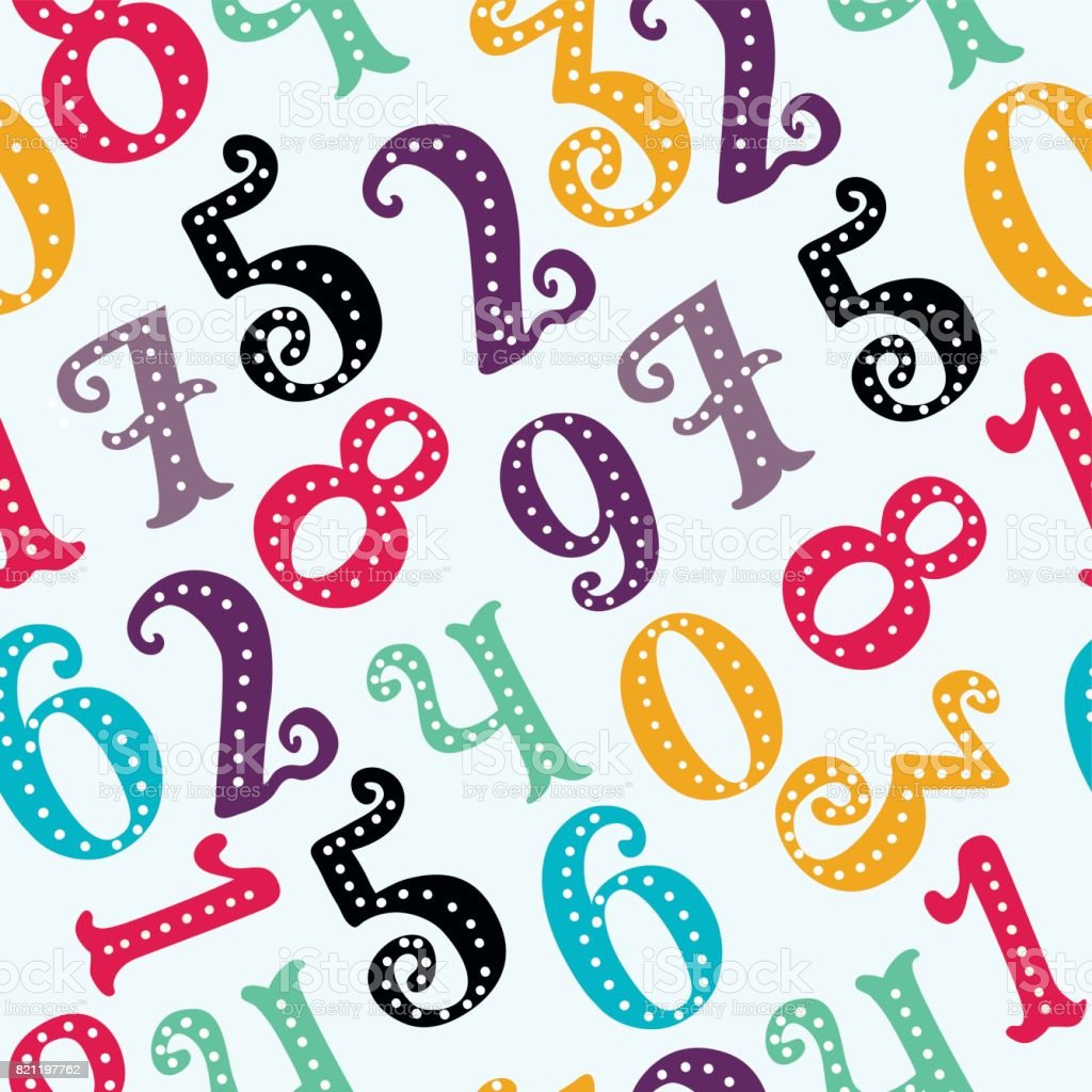 Mathematics Background Different Numbers In Random Pattern Colorful ...