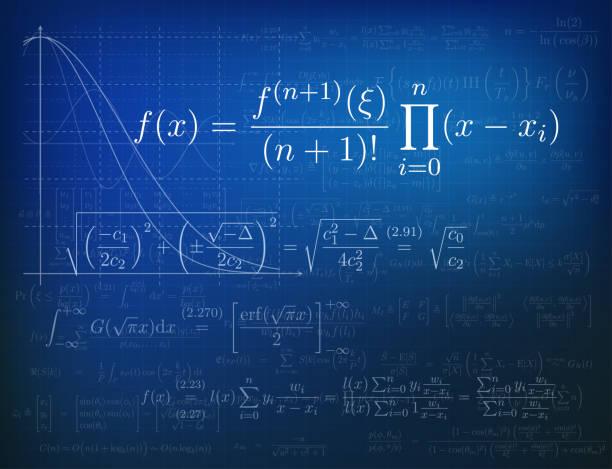 Mathematics background Background with mathematical formulas. Vector illustration.Background with mathematical formulas. Vector illustration. mathematical symbol stock illustrations