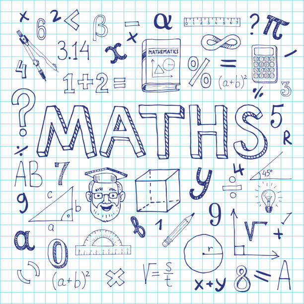 Mathematics background. Maths hand drawn vector illustration with doodle mathematical formulas, numbers and objects, isolated on exercise book sheet mathematical symbol stock illustrations