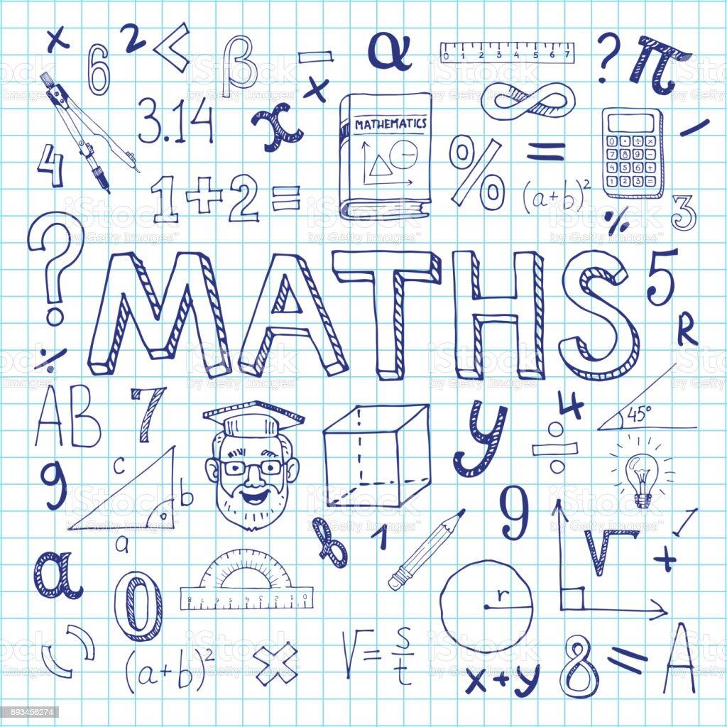 Mathematics background. vector art illustration