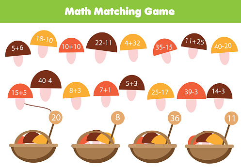 Mathematics children educational game . Match objects with numbers. Study addition and subtraction for kids and toddlers. Put mushrooms in basket