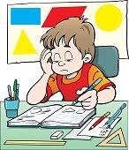 Illustration of child at mathematics class.