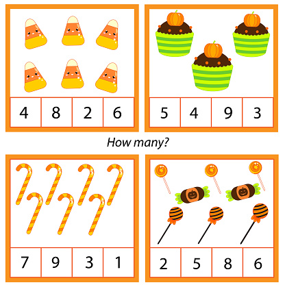 Mathematics educational children game. Study counting, numbers. Halloween theme kids mathematics activity