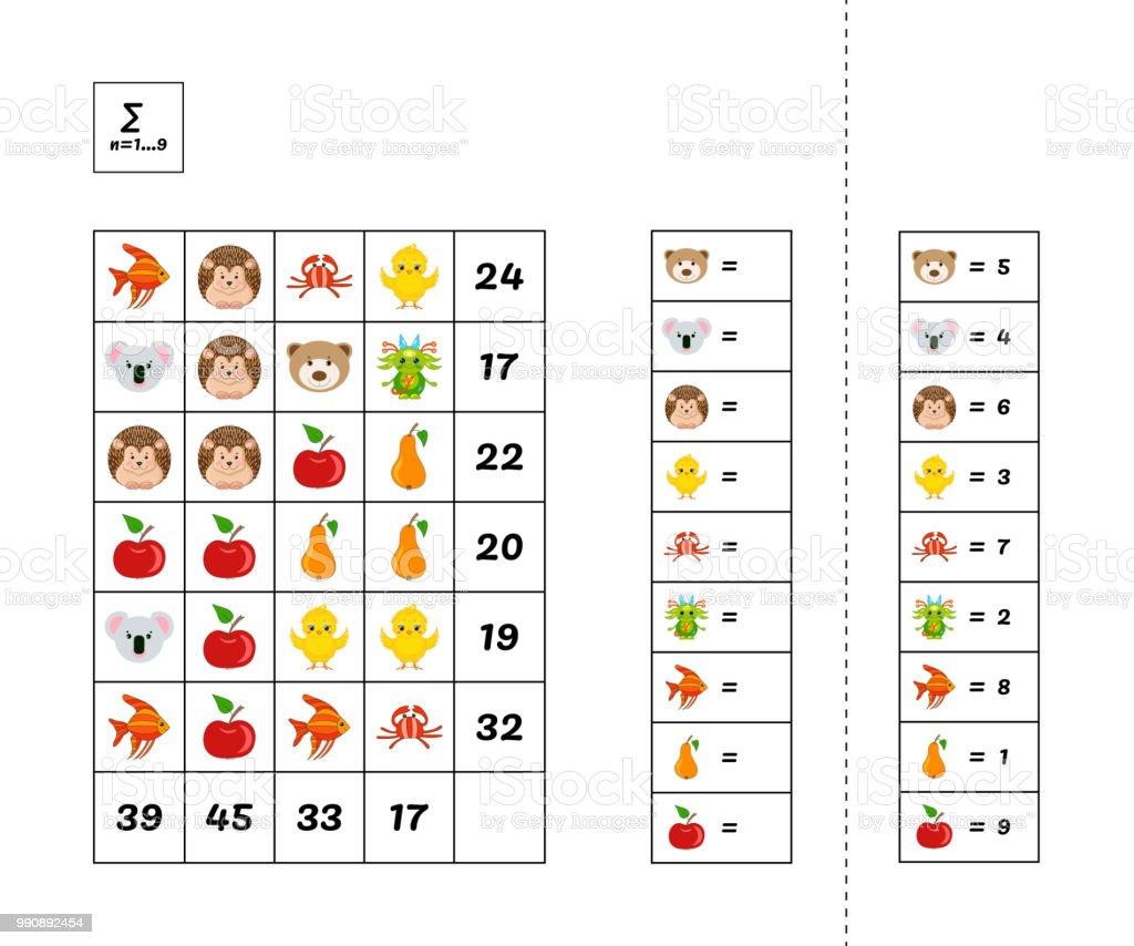 Mathematiklernspiel Für Kinder Mathepuzzle System Von Gleichungen ...