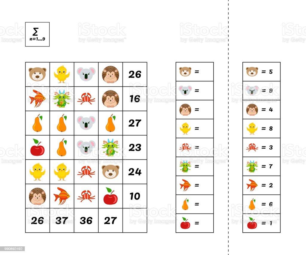 Ilustración de Juego Educativo De Matemáticas Para Niños ...