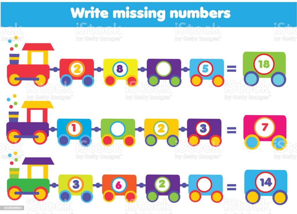 Mathematics Educational Game For Children Write The Missing Numbers ...