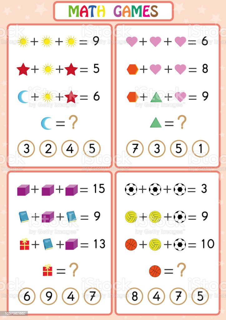 Mathematics Educational Game For Kids Fun Worksheets For ...