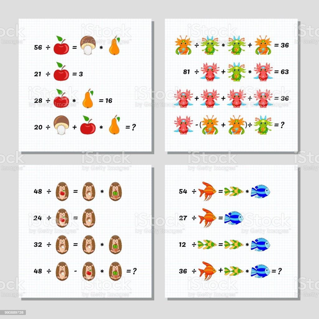 Mathematiklernspiel Für Kinder Festgelegt Fortgeschrittenes Niveau ...