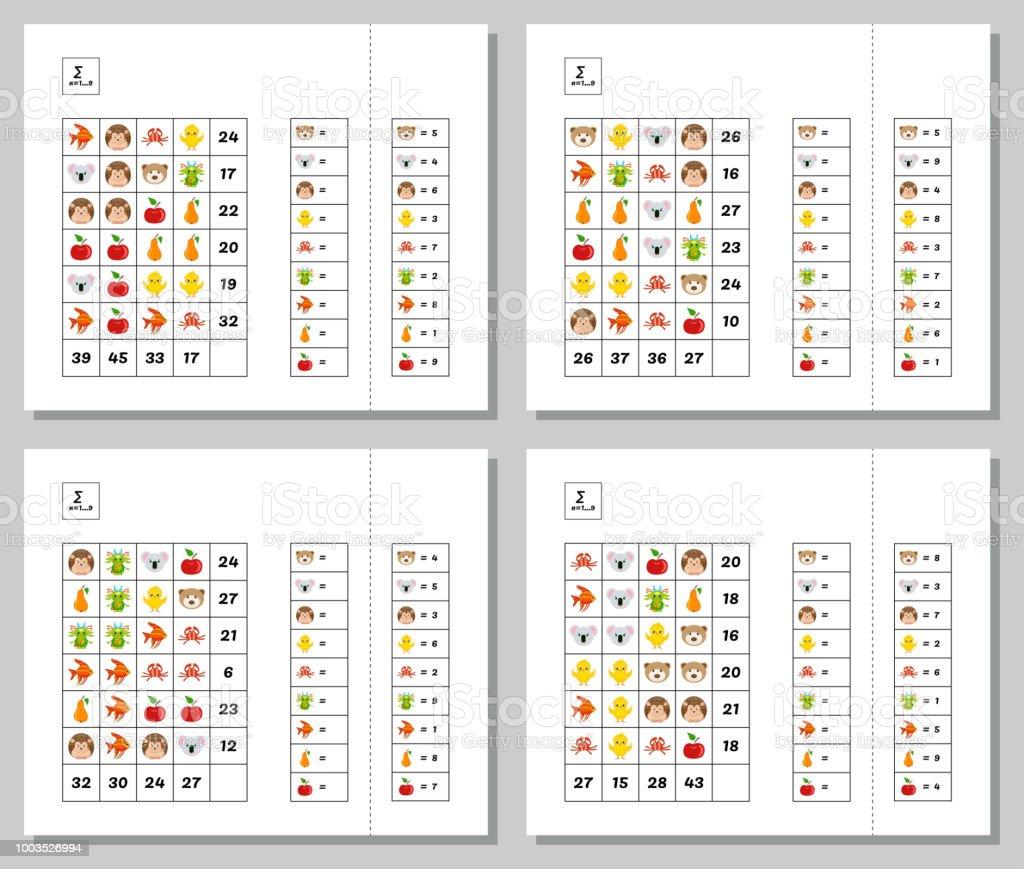 Mathematiklernspiel Für Kinder Festgelegt Mathepuzzle Legen System ...