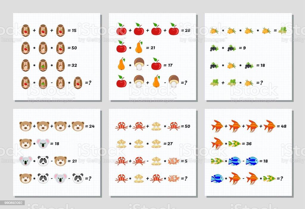 Mathematik Lernspiele Für Kinder Festgelegt System Von Gleichungen ...