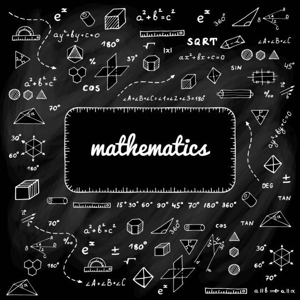 elemente der mathematik auf schwarze kreide an bord - geometriestunde grafiken stock-grafiken, -clipart, -cartoons und -symbole