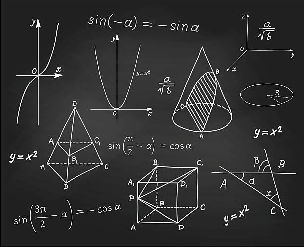 Mathematics - geometric shapes and expressions sketches on school board Mathematics - geometric shapes and expressions sketches on school board. vector mathematical formula stock illustrations