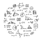 Mathematics, geometry background. Formulas, shapes, and graphics. Big vector set of mathematical objects isolated on a white background. Hand drawn.