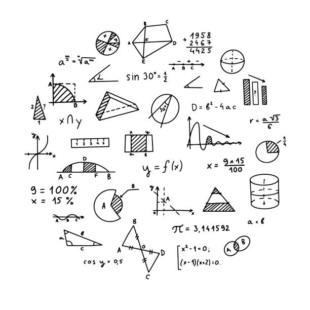 Mathematics, geometry background. Formulas, shapes, and graphics. Big vector set of mathematical objects isolated on a white background. Hand drawn. Mathematics, geometry background. Formulas, shapes, and graphics. Big vector set of mathematical objects isolated on a white background. Hand drawn. mathematical symbol stock illustrations