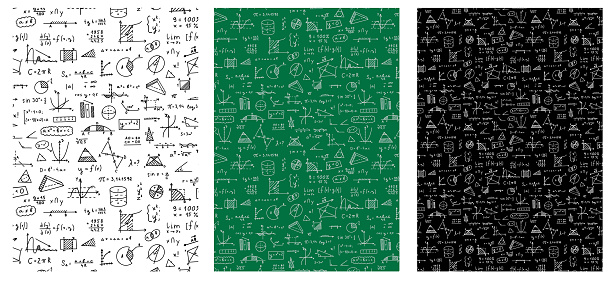 Mathematics, geometry background. Formulas, shapes, and graphics. Big vector set of mathematical objects isolated on a white background. Hand drawn seamless pattern.