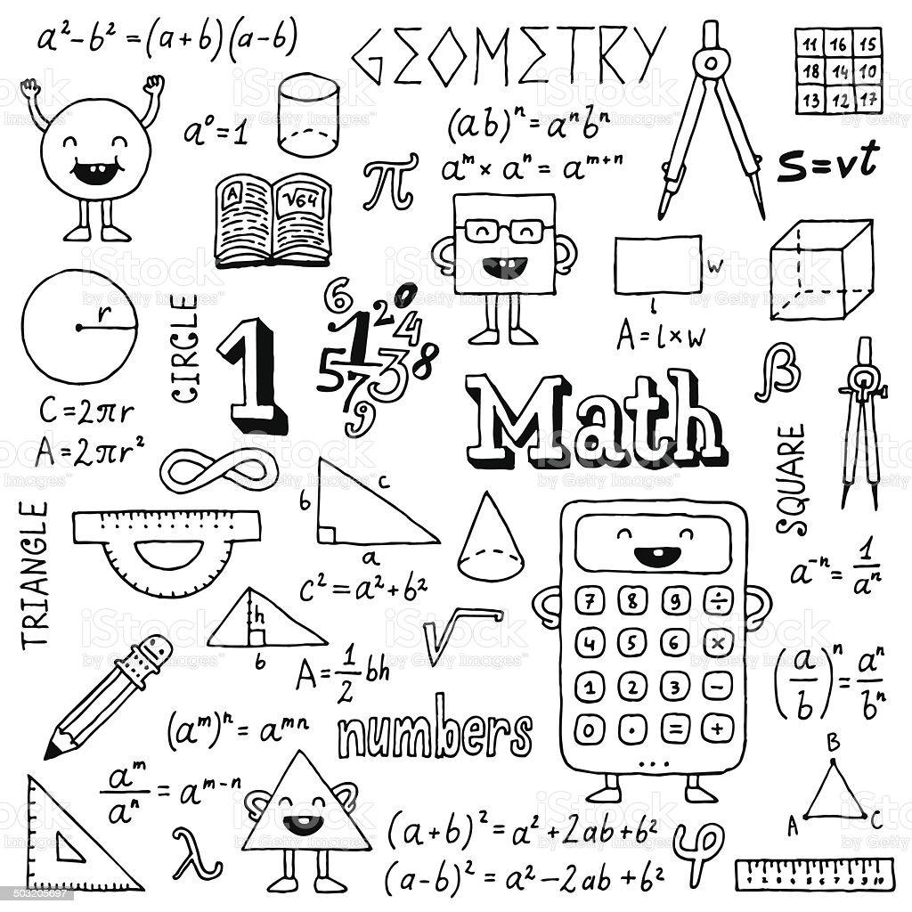 mathematics hand drawn vector illustration black and white
