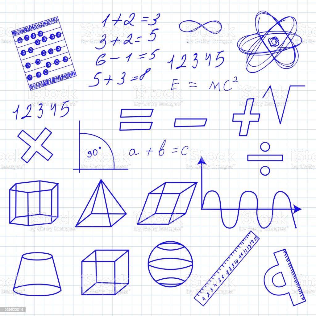 Mathematics icon set hand-drawing style vector illustration vector art illustration