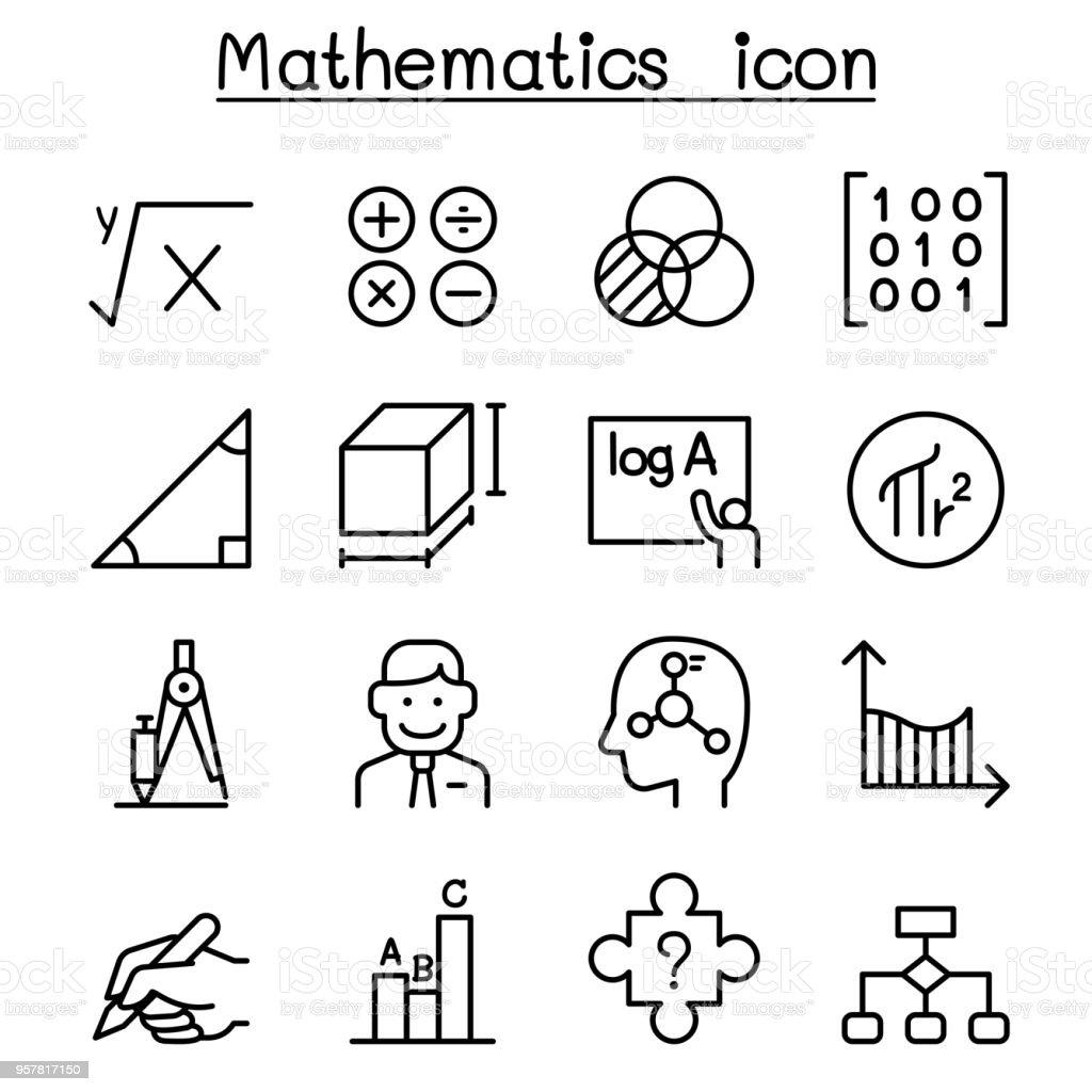 Mathematics icon set in thin line style vector art illustration