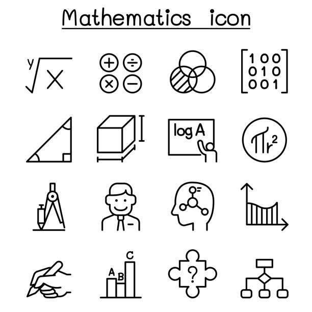 mathematics icon set in thin line style - math class stock illustrations, clip art, cartoons, & icons
