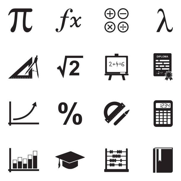 Mathematics Icons. Black Flat Design. Vector Illustration. Calculator, Sign, Blackboard, Chart, Ruler mathematical symbol stock illustrations