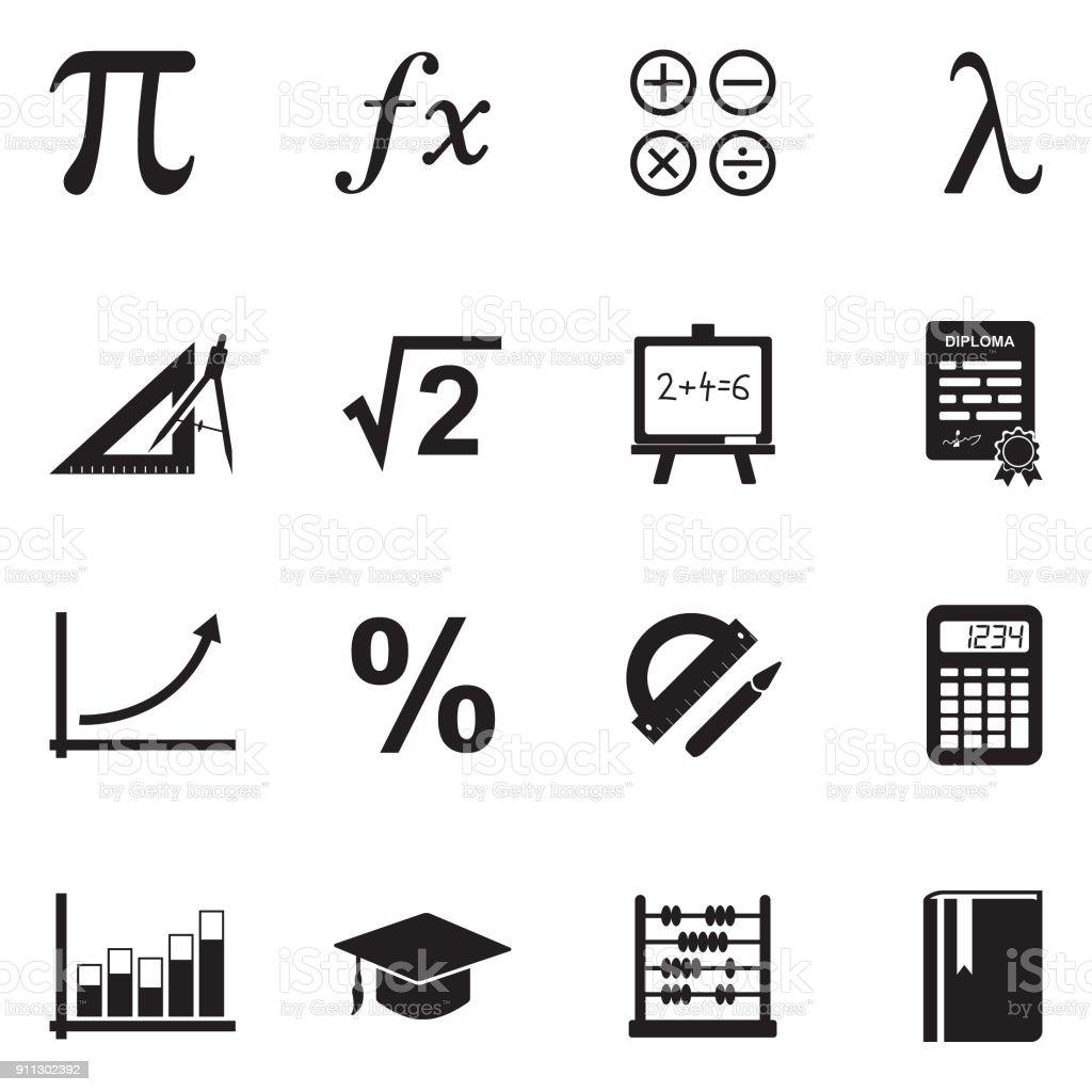 Mathematics Icons. Black Flat Design. Vector Illustration. vector art illustration