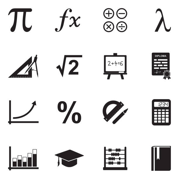mathematics icons. black flat design. vector illustration. - math class stock illustrations, clip art, cartoons, & icons