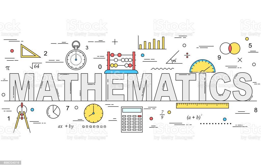 Mathematics line style illustration vector art illustration