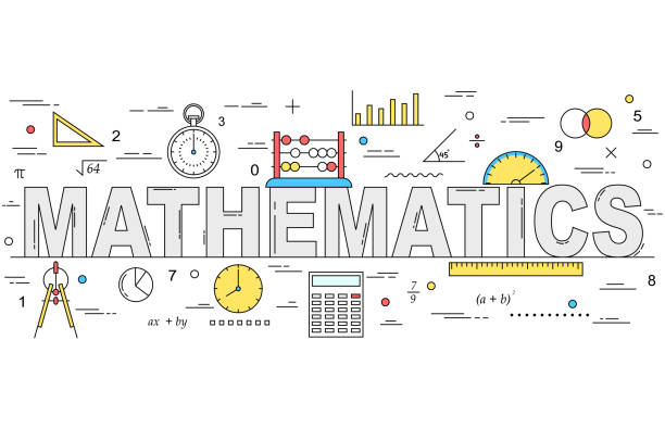 mathematics line style illustration - math class stock illustrations, clip art, cartoons, & icons