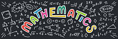 Mathematics. Maths doodles with lettering on black background. Education vector banner.