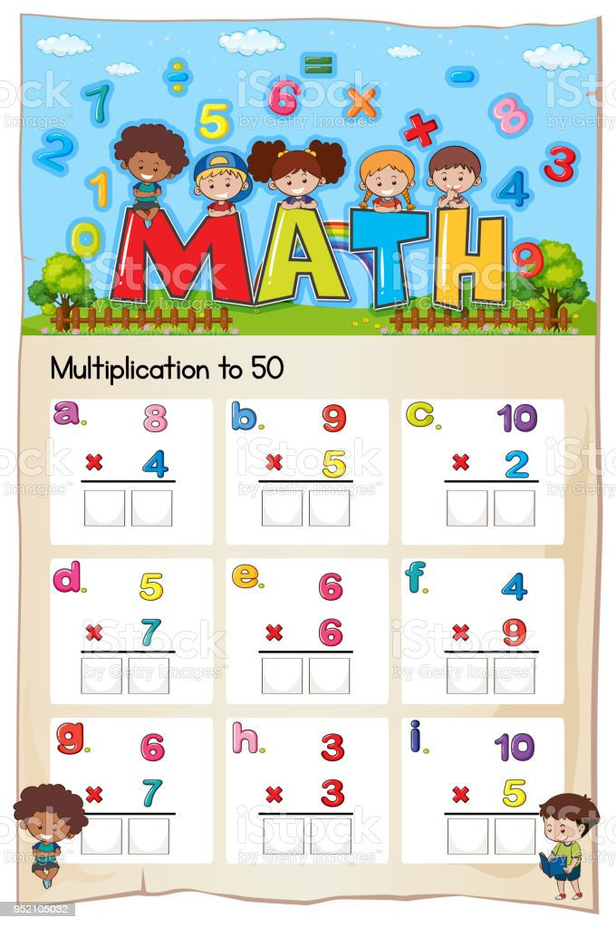 Mathematik Multiplikation Arbeitsblatt Für Schüler Stock Vektor Art ...