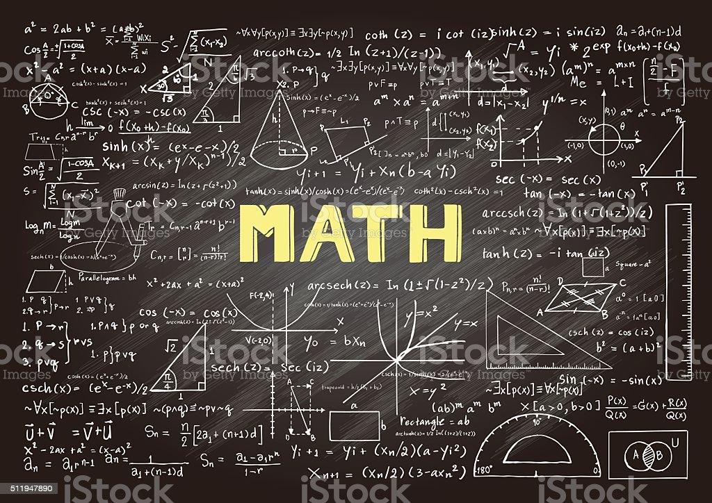 Mathematics on chalkboard vector art illustration