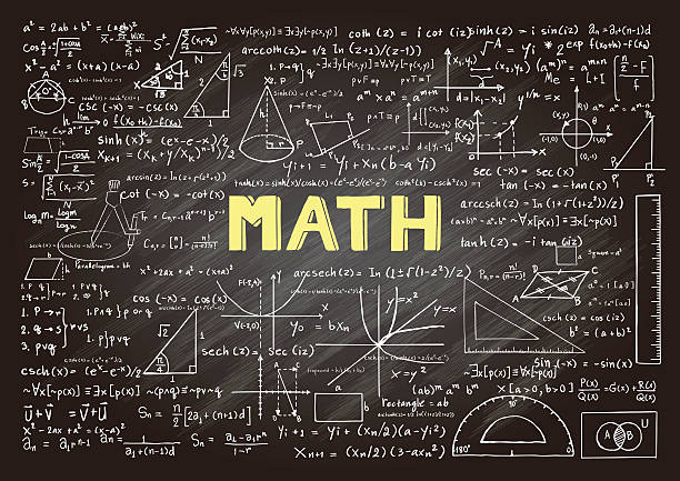 mathematics on chalkboard - math class stock illustrations, clip art, cartoons, & icons