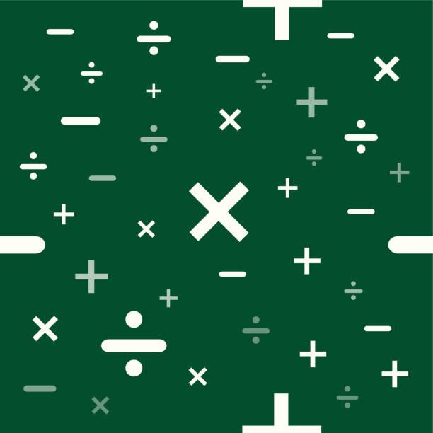illustrazioni stock, clip art, cartoni animati e icone di tendenza di matematica o matematica educazione texture di sfondo in formato vettoriale pronto per piastrelle.lavagna verde - segno meno