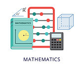 Education banner template of mathematics school subject teaching and studying, flat vector illustration isolated on white background. Mathematics lessons and courses.