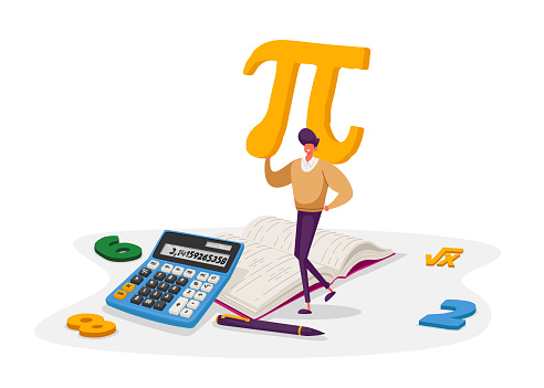 Mathematics Science and Algebra Concept. Tiny Student Male Character Carrying Huge Sign Pi with Digits, Textbook, Formula Root Symbol. University and High School Education. Cartoon Vector Illustration