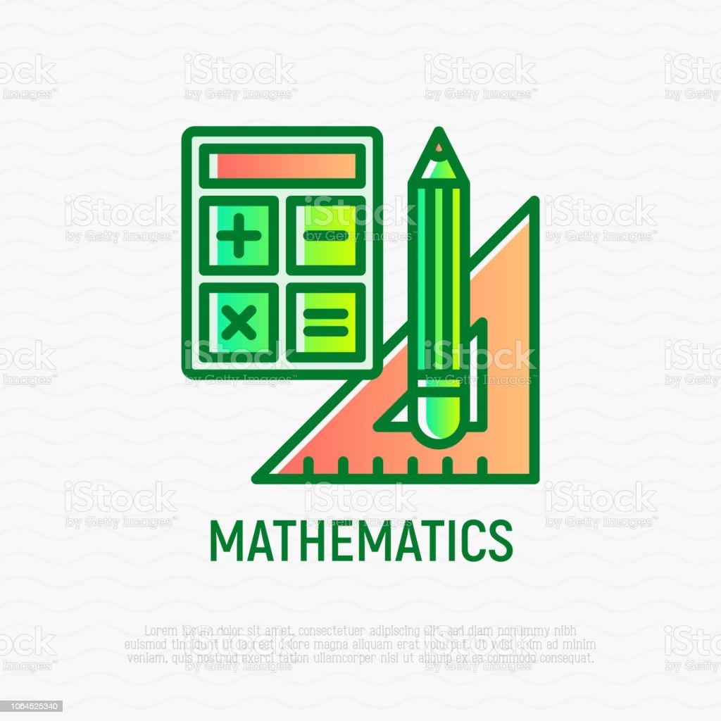 Mathematics Symbol Thin Line Icon Calculator Pencil Triangle Ruler