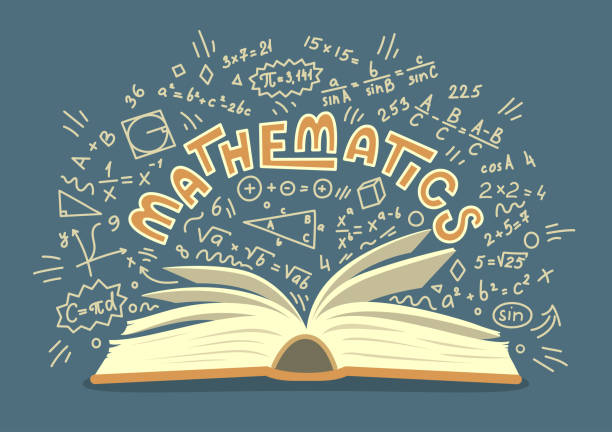 Mathematics. Mathematics. Open book with maths doodles with lettering. Education vector illustration. mathematical symbol stock illustrations