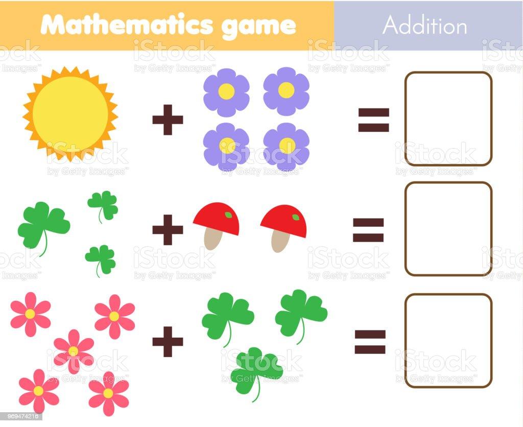 Mathematikarbeitsblatt Lernspiel Für Kinder Zählen Lernen Zusatz Für ...