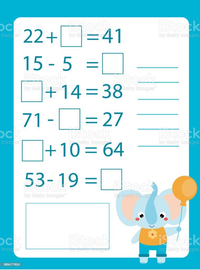 Ilustración de Hoja De Trabajo De Matemáticas Juego Educativo Para ...